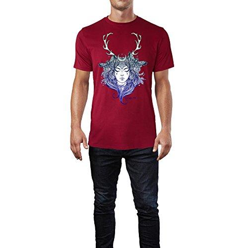 SINUS ART® Frau mit geschlossenen Augen & Hirschgeweih Herren T-Shirts in Independence Rot Fun Shirt mit tollen Aufdruck