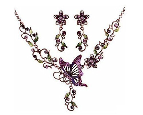 - Grenf Fashion Prom Wedding Bridal Jewelry Sets Exotic Multi-Colored Enamel Butterfly Flower Necklace with Stud Earring 4 Colors (Butterfly Flower - Purple)