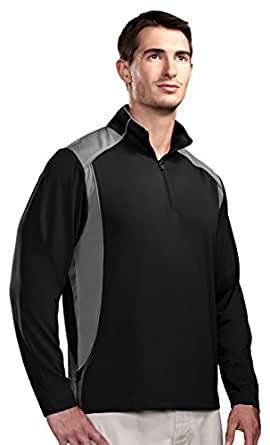 Tri-mountain Mens Poly UltraCool 1/4 zip pullover shirt - BLACK/GRAY - Small