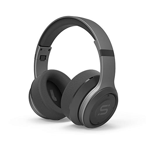 SoMi Infinite Over Ear Bluetooth Headphones, Wireless Headset, Foldable, Adjustable, Comfortable Protein Earmuffs w/Built-in Mic and Wired Mode for PC/Cell Phones/TV, Gunmetal ()
