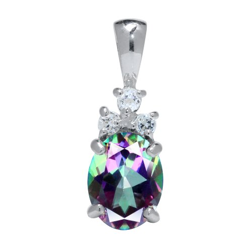 2.12ct. Mystic Fire Topaz 925 Sterling Silver Pendant