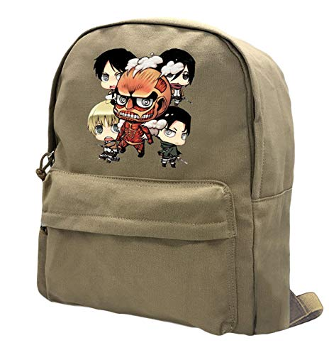 (Gumstyle Attack on Titan Anime Backpack Rucksack Schoolbag Daypack Casual Travel Bag 16L Khaki 5)