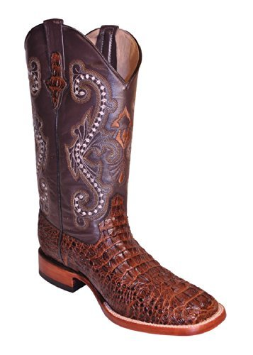 Ferrini Men's Caiman Croc Print Cowboy Boot Wide Square Toe Rust 13 EE US ()