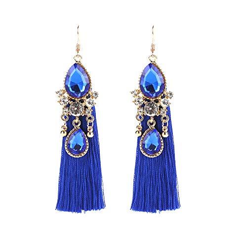 (Women Bohemian Jewelry Gold-Tone Alloy Resin Crystal Floral Tassel Long Earrings)
