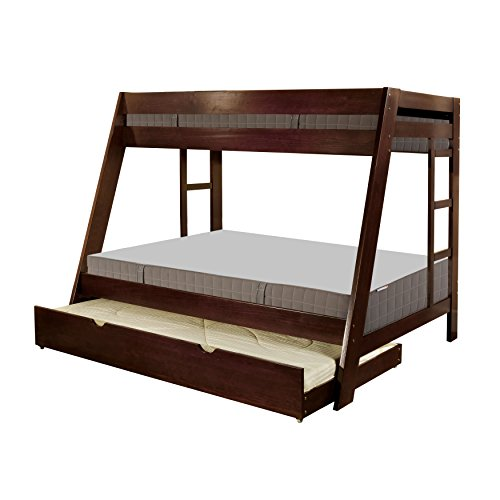 HOMES: Inside + Out 2 Piece ioHOMES Perino Bunk Bed and Trundle Set, Twin/Full, Dark Walnut
