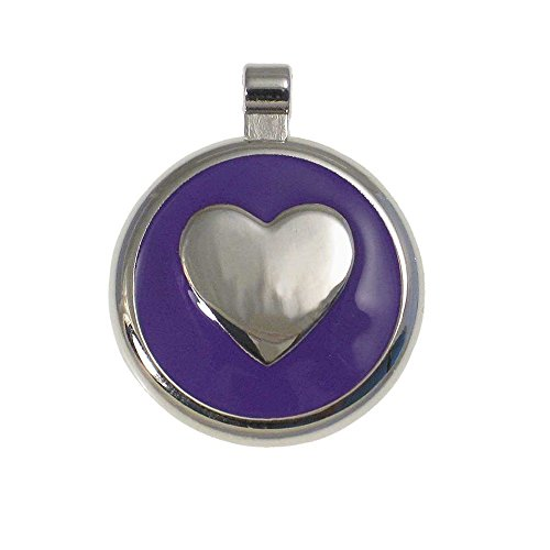 (LuckyPet Heart Jewelry Pet ID Tag for Cats and Dogs, Personalized Engraving on The Back Side, Small Purple Heart)
