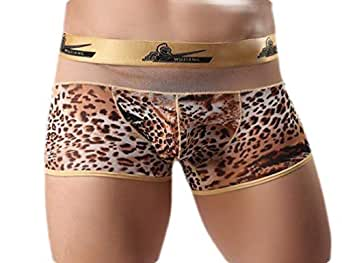 Macondoo Men Stretchy Underwear Classic Leopard Printed Boxer Briefs Leopard XS