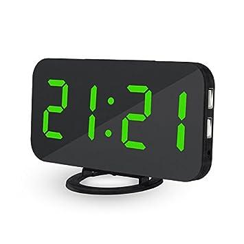 Lbsel Despertador Llevado EléCtrico De La ExhibicióN, 2 Puertos De Carga del USB, Reloj Despertador Grande del NúMero Digital Reloj De Mesa Llevado ...