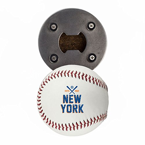 Baseball Bottle Cap (New York M Bottle Opener, Made from a real Baseball, The BaseballOpener, Cap Catcher, Fridge Magnet)