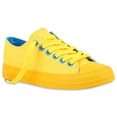 Stiefelparadies Damen Sneakers Pailletten Schuhe Spitze Häkeloptik Turnschuhe Sportschuhe Freizeitschuhe Sneaker Low Flats Flandell Gelb Amares