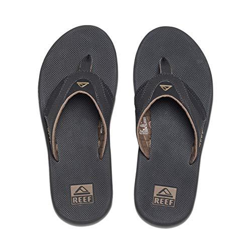 Reef Men's Sandals Fanning | Bottle Opener Flip Flops For Men, Black/Brown, 11 (Best Husband In The World)