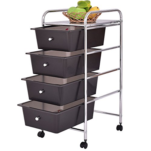 4 Drawers Chrome Studio Organizer Rolling Cart Scrapbook Supply & Paper (Telescoping Bag Dryer)