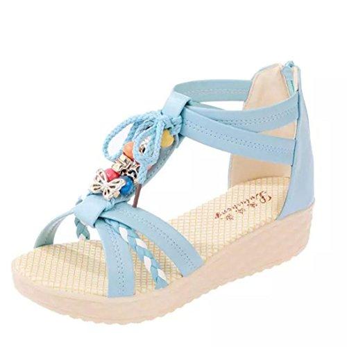 Transer 2016 1Pair Linda mujer ocasional peep-toe de la hebilla plana sandalias de los zapatos de las mujeres del verano Azul