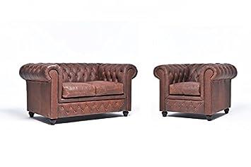 Conjunto Sofás Chester Vintage - Marrón- 1/3 plazas ...