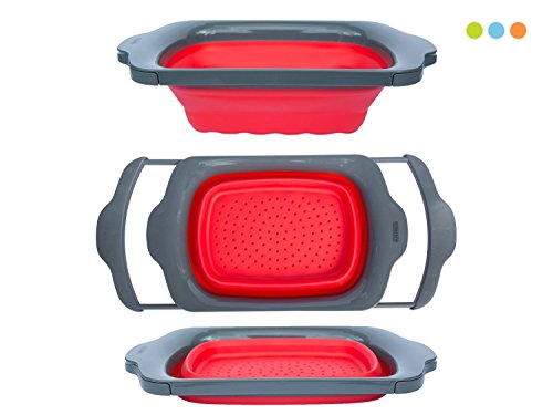 Comfify Colander Collapsible, Over the Sink Colander with Handles, Folding Strainer for Kitchen, Capacity of 6 quart, Red/Grey