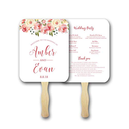Wedding program fans/Personalized Wedding fans for guests/Wedding favors/Wedding fan program/Floral, Set of 100 fully assembled -