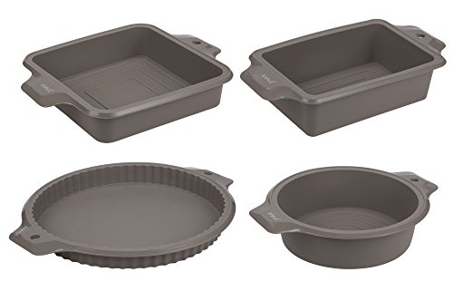 Silicone Set Bake (4-Piece Set Silicone Bakeware Molds - Nonstick Baking Supplies Set with Round, Square, and Rectangular Pans for Pies, Cake, Bread, Loaf, and More, Grey)