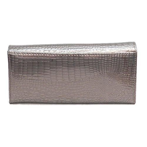 Organizer Genuine Aw042 Pewter Crocodile Womens Wallet Clutch Leather Pattern Multi Wallet 6rr10wFqC