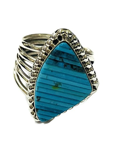 .925 Sterling Silver Native American Handcrafted Jewelry Kingman Turquoise Triangular Cornrow Ring