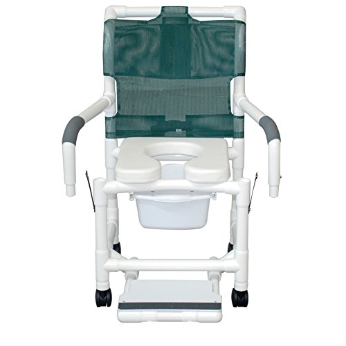 MJM International 118-3TW-SF-SQ-PAIL-SSDE-DDA Standard Shower Chair with Slide Out Footrest, Commode Pail, Soft Seat and Drop Arms, Royal Blue/Forest (Standard Drop Arm Commode)