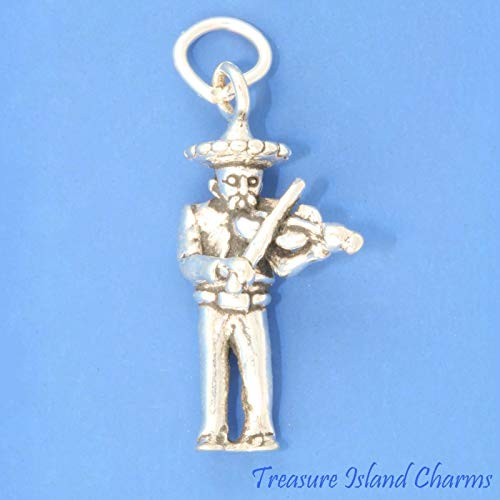Mexican Mariachi Musician with Violin Fiddle 3D 925 Sterling Silver Charm Mexico Ideal Gifts, Pendant, Charms, DIY Crafting, Gift Set from Heart by Wholesale Charms