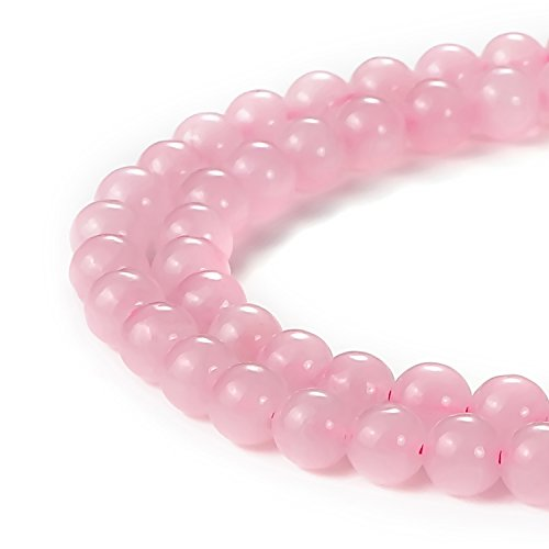 Rose Quartz Leaf (BEADNOVA 6mm Natural Rose Quartz Gemstone Round Loose Beads for Jewelry Making (63-65pcs))