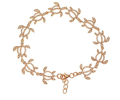 925 solid sterling silver pink rose gold plated Hawaiian honu turtle bracelet cz 7.5'' by Arthur's Jewelry