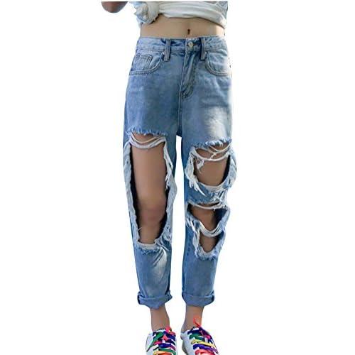 20e926be7d Mujer Pantalones Jeans Boyfriend Skinny Rotos Flacos Vaqueros Cintura Alta  Mejor
