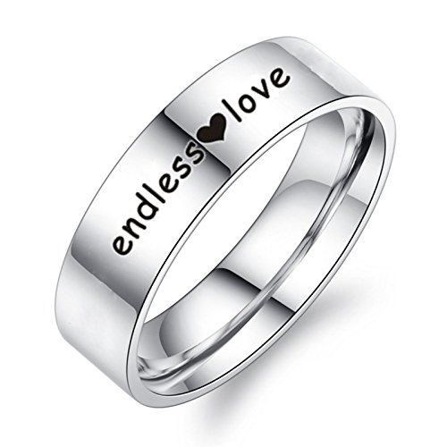 Epinki 6MM Couple Ring, Stainless Steel Endless Love Wedding Band Engagement Ring Men Size 9 (Silver Crown Mine)