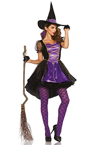 Witch Halloween Costumes For Women (Leg Avenue Women's Crafty Vixen Witch Costume, Black/Purple, Small/Medium)