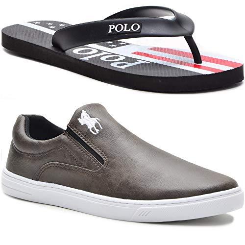 Tênis Slip On Casual Polo Masculino Extra Macio + Chinelo Cor:Marrom,Tamanho:39