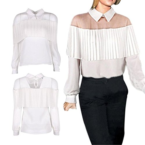 Ladiamonddiva Shirt Summer Off Shoulder Cape-Style Loose Pleated White Black Tops Chiffon Blouse Shirt For Women ()