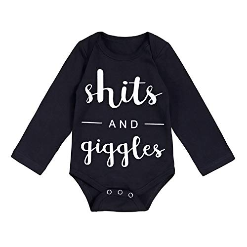 Newborn Baby Boy Girl Clothes Funny Letter Bodysuit Romper Outfits (B-Black, 12-18 -