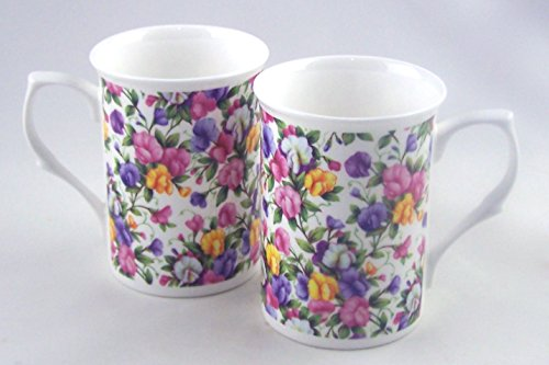 Sweet Pea Chintz - Pair Fine English Bone China Mugs - England - Set of Two