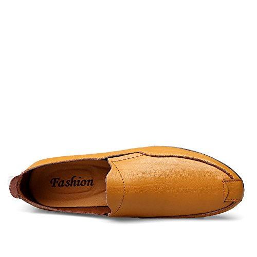Slip Mocasines Hombres Xiazhi Yellow Brown Color 43 Plano de los shoes Mocasines del conducción Cuero talón de tamaño de de on EU Genuino Estilo Mocasines 00175q
