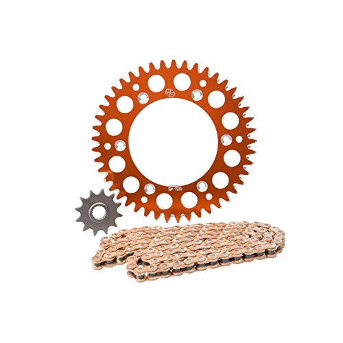 Primary Drive Alloy Kit & Gold Plated MX Race Chain Orange Rear Sprocket - Fits: KTM 250 XC-F 2012-2019