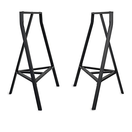 Sturdy Crosscut Trestle Table Legs ,28 Inch Perfect for Home Office Desk , Work Station or Table ,Pack of 2 (Black With Storage)