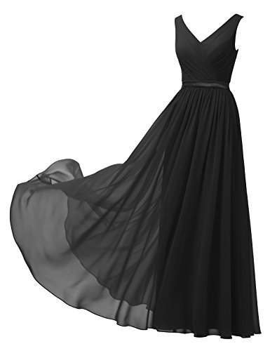 Alicepub V-Neck Chiffon Bridesmaid Dress Long Party Prom Evening Dress Sleeveless, Black, US2