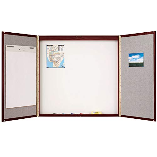"TableTop King 878 48"" x 48"" Mahogany Laminate Conference Room Cabinet with Whiteboard/Bulletin Board Interior"