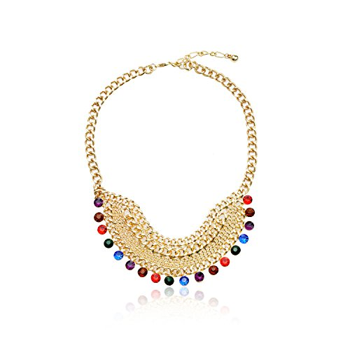Ginasy Crystal Beads Design Statement Collar Necklace, Fashion Choker Jewelry Gift for Women Girls (17.1