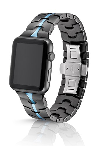 42mm JUUK Cerulean Vitero Premium Apple Watch band, made with Swiss quality using aircraft grade hard anodized 6000 series aluminum with a solid stainless steel butterfly deployant buckle (Grey Blue) by JUUK (Image #9)
