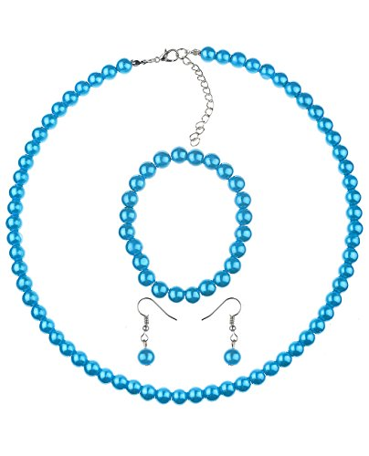 (NYFASHION101 Women's 7mm Simulated Pearl Necklace with Stretch Bracelet and Ball Earrings, Turquoise)