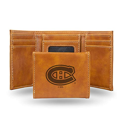 Rico Industries NHL Montreal Canadiens Laser Engraved Tri-Fold Wallet, Brown
