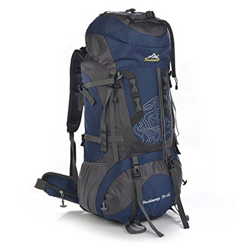 Lo nuevo 80L al aire libre profesional del bolso del alpinismo hombres y mujeres mochila bandolera mochila bolsa de gran capacidad azul marino