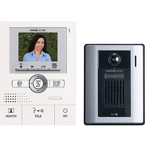 - Aiphone JKS-1AED Audio/Video Single-Door Intercom Set with Picture Recording, Includes Master Station with Image Recording, Power Supply, and Surface-Mount Door Station