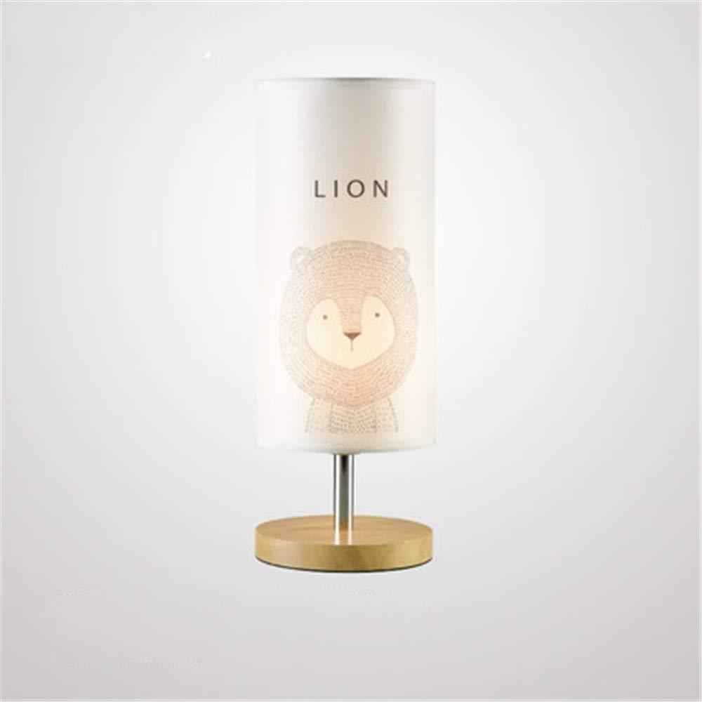 Ehime Moderne minimalistische log Schlafzimmer Nachttischlampe Nordic Holz Kunst Kinderzimmer Tischlampe Cartoon Tier Stoff Lampe