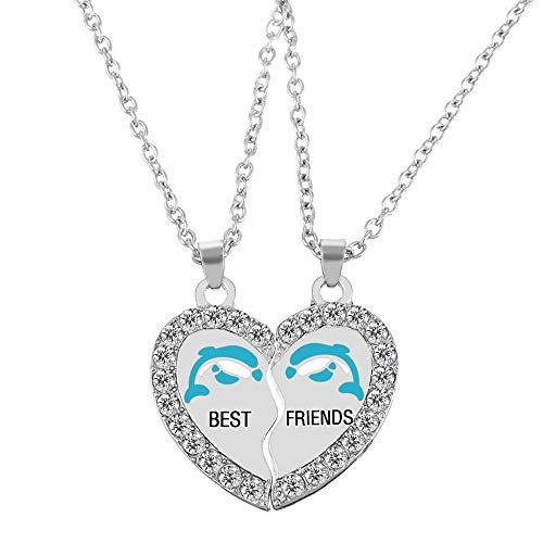 MJartoria Split Valentine Heart Rhinestone Dolphin Best Friends Engraved Pendant Friendship Necklace Set of 2