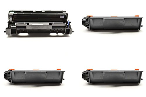 InkClub 4PK Compatible 3 TN750 & 1 DR720 Toner Drum Cartridge Combo Set, Replacement Use for Brother DCP-8110,8150,8155, HL-6180,5400,5440,5450,5470,5470,6180, MFC-8510,8710,8910,8950,8950 Series 8510 Series