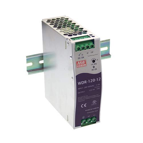Mean Well WDR-120-24 Industrial DIN Rail Power Supply, Single Output 24VDC, 5A, 120W
