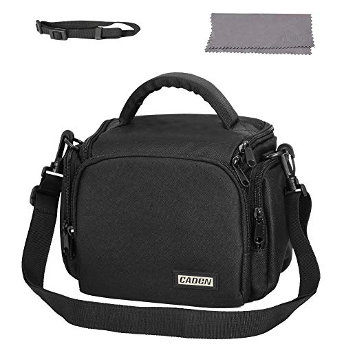 CADeN Compact Camera Shoulder Crossbody Bag Case Compatible for Nikon, Canon, Sony SLR/DSLR Mirrorless Cameras and Lenses Waterproof Black
